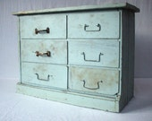 RESERVED  for ajsbaboose /  Vintage 6 Drawer Painted Wood Cabinet / Rustic Primitive Handmade / Industrial Storage