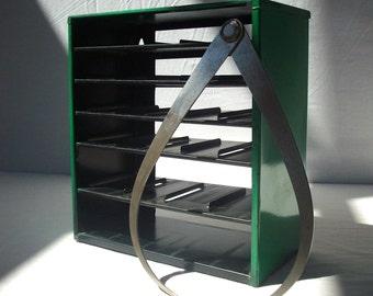 Vintage Steel Painted Divider Bin Frame / Flambeau / Green & Black