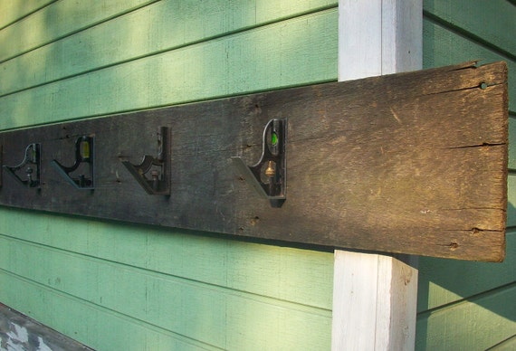 Rustic Barnwood Coat Rack / Hanging Storage / Home Decor / Weathered Wood Rusty Metal / Carpenters Dream Coat Rack