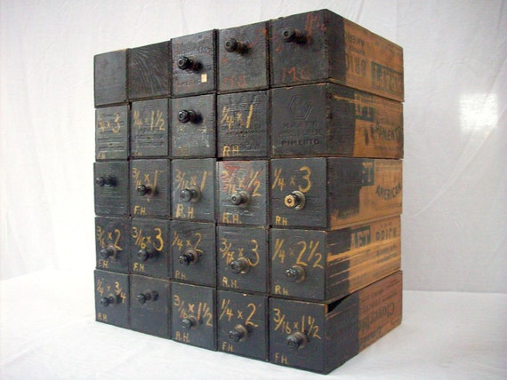 RESERVED for WILLIAM Vintage Printed Wood Cheese Boxes / Hardware Storage Bins / 22 Boxes  Black