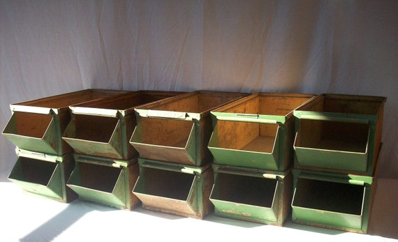 Vintage Industrial LARGE Hardware Bins / Set of 10 / LYON Folded Metal with Label strip