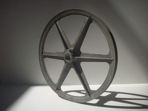 "Vintage 12"" Spoked Machine Pulley / Cast Aluminum"