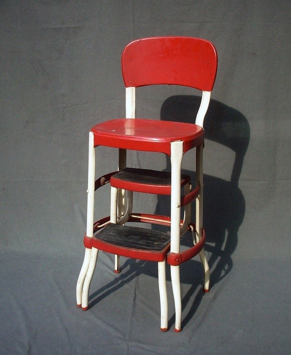 Vintage Cosco Metal Step Stool Chair By Urgestudio On Etsy