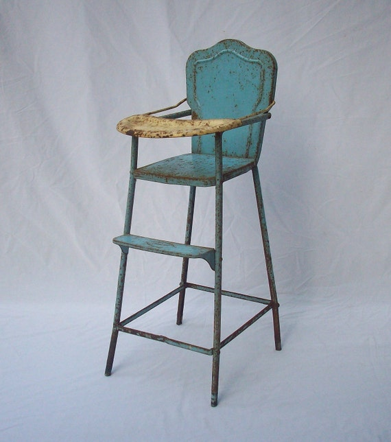 Vintage doll high chair metal anesco for Antique high chairs