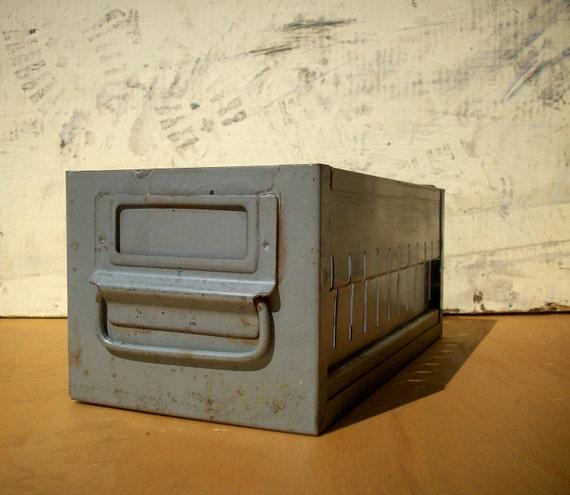 Vintage Industrial Metal Drawer / Parts Bin / Gray