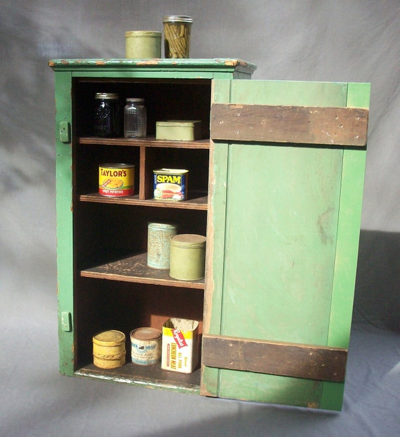 Vintage Distressed Painted Wood Cabinet with Door and Shelves / Supplies Storage / Pantry