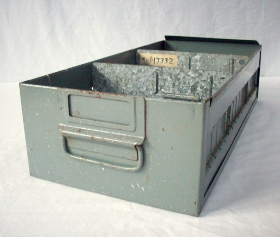 Vintage Industrial Steel Gray File Drawer with Dividers Handle and Label area