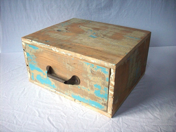 Large Painted Distressed Wood Drawer / Reclaimed Wood / Storage / Vintage / Primitive