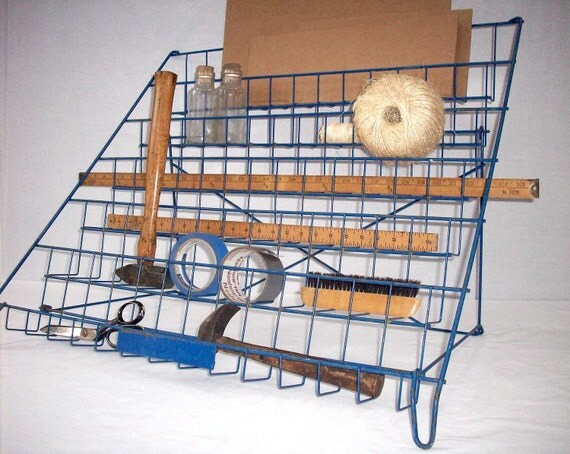 Reserved for Christy  Vintage Metal Display Rack / Tool and Supplies Organizer / Stairstep Wire Display