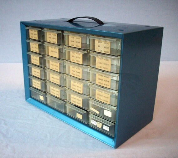 Vintage Metal and Plastic Small Parts Bin / 24 drawers / Akro Mils Akron Ohio