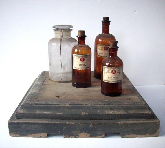 Vintage Wood Column Base / Architectural Salvage / Distressed