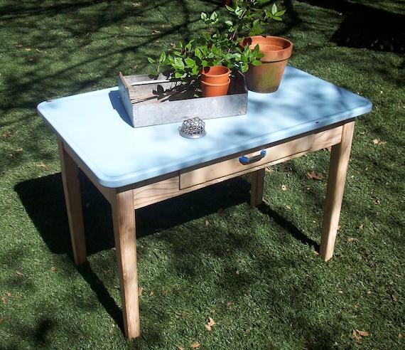 Vintage Enamel Top Table / Farm Table / Laundry Table / Garden Table