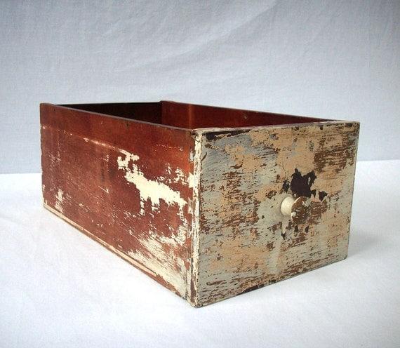 Vintage Painted Wood Drawer / Distressed