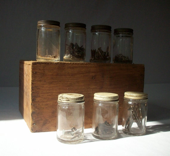 7 Small Clear Glass Jars with Metal Screw on Lids / Instant Collection