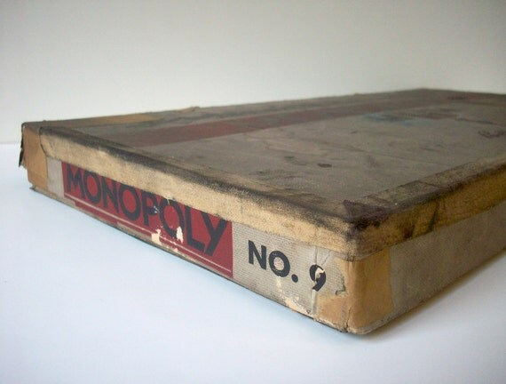 RESERVED for Rob  Vintage Board Game Monopoly 1936 / Parker Brothers / Number 9 White Edition with Extra Number 6 Pieces and Original Tokens