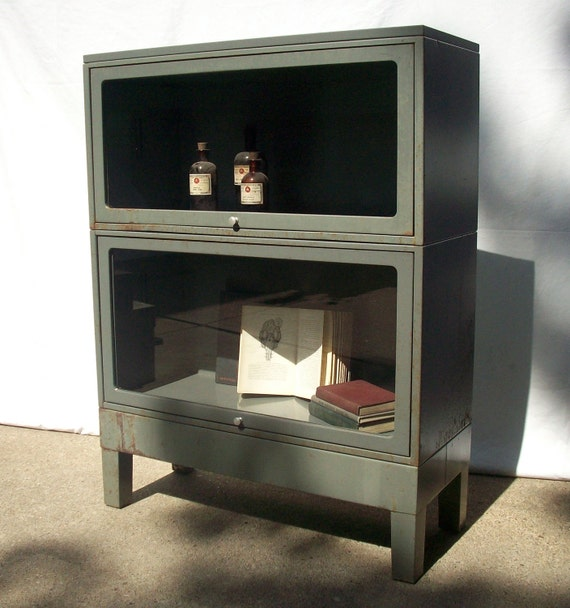 RESERVED for Michael / Vintage Steel Bookcase / Barrister Lawyers Style with Glass Front Doors and Knob / Modular