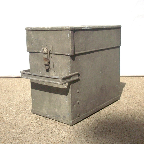 Vintage Metal Box with Handle and Buckle Closure / Rustic Primitive Industrial Farm
