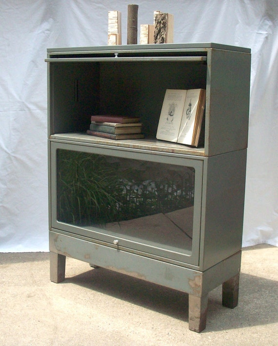 Vintage Steel Bookcase / Barrister Lawyers Style with Glass Front Doors and Knob / Modular