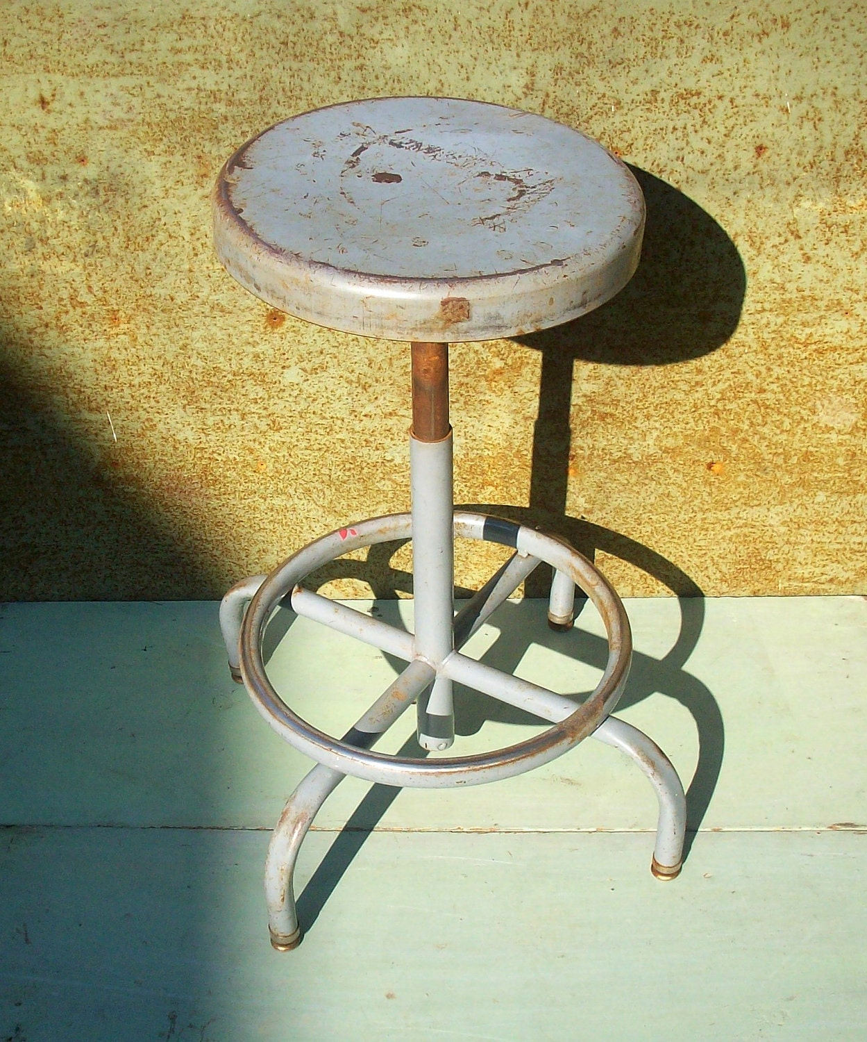 Vintage Industrial Metal Shop Stool Swivel And Adjustable
