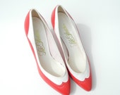 Vintage White & Red Saddle Heels