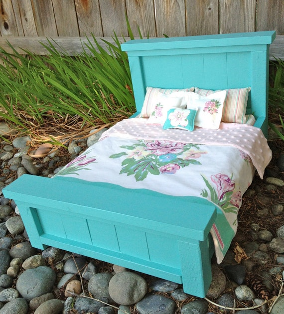 Turquoise - Aqua Farmhouse Doll Bed