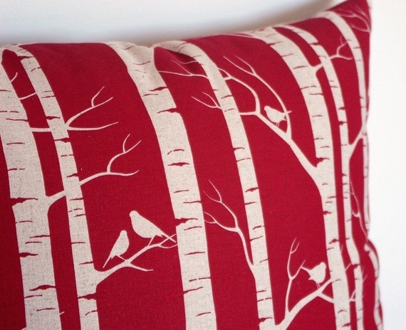 Hand-printed fabric by Ink & Spindle - Birch Forest in Red - Screenprinted on organic cotton hemp (fat quarter)
