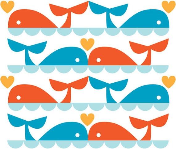 ORGANIC Whale Love fabric - Marine by Dan Stiles (1/2 METRE)