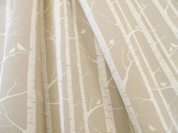 Hand-printed fabric  - Birch Forest in Almond by Ink and Spindle - Screenprinted on organic cotton & hemp  (fat quarter)