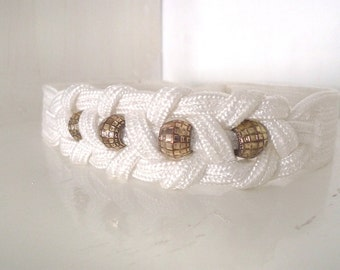 SALE!!!    Vintage white with gold tone beads waist belt