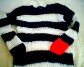 Mohair sweater by camdenlock clothing punk rock new colors black and white stripe handmade knitting