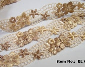 3/4 inch Embroidered Venice LACE Scalloped edge Floral Mesh Lace Trim/Trimming, 2 tone in brown/gold multicolor, pastel/soft - 2 yards- EL62