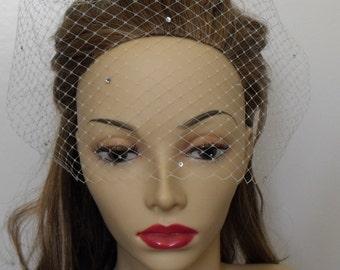 Ivory French Netting Veil, Swarovski Rhinestones, White Veil, Champagne, Bubble Veil, Visor Veil, Style VB013