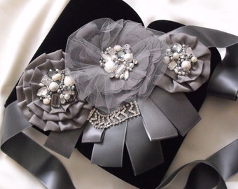 Vintage Dark Grey Bridal Flower Sash, Vintage Flower Sash, Crystal rhinestone sash, beaded, button, Grey flower sash, charcoal grey
