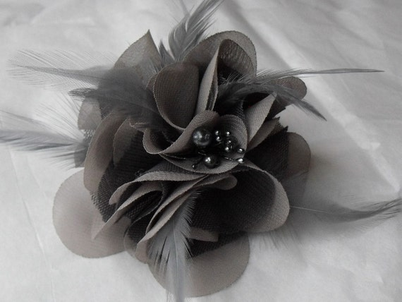Shades of Grey, Hair Flower, Silk Chiffon, Grey netting, Feather Flower Fascinator, Style A080