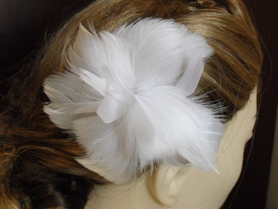 Clearance,White Feather Flower, Feather Fascinator,Soft Feather Headpiece, Style A101