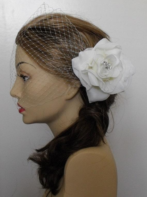 CLEARANCE,Ivory Rose, Silk petal, Silk Chiffon Flower, Headpiece, Fascinator, Crystals, Style B035