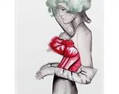 NEW --   I P h o n e      C a s e   --  Uptown & Down Fashion Illustration Custom Art Iphone 4 or 4S Case
