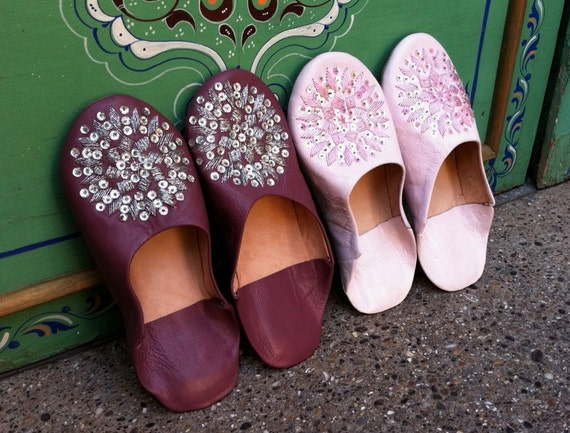 Moroccan  Babouche Slippers  with Sequences- Les Etoiles