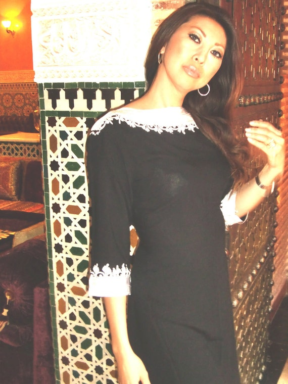 Black Classical Tunic Dress- Reina Style, Ramadan, Eid