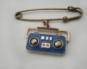 Safety Pin Brooch Radio 80s