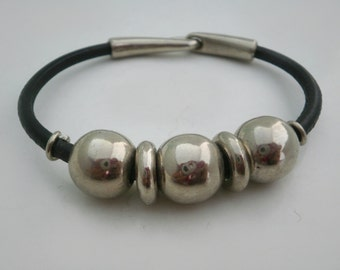 Leather Steel   Bracelet  Unisex