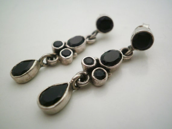 Vintage Silver  Black Earrings with  Onyx