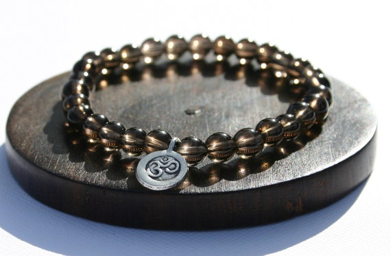 Smoky Quartz Yoga Bracelet with Ohm Charm