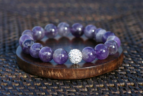 Amethyst and White Crystal Pave Bracelet