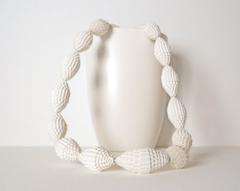 White: Statement Necklace FILA with Beads of Corrugated Cardboard