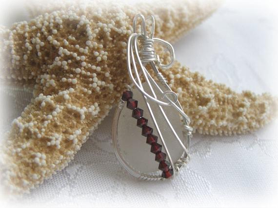 Wire Wrapped Beach Glass Seaglass Pendant - Garnet and White Beach Glass