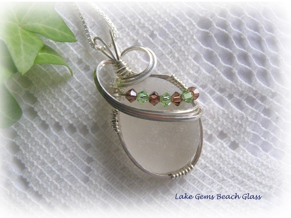 Wire Wrapped White Beach Glass Seaglass Pendant