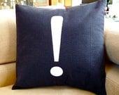 Modern Black Pillow Case -  Hand Painted Pillow Cover - 16x16 Decorative Pillow