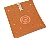 iPad Sleeve- iPad Cover- iPad case- Cognac Brown Wool Felt with Hand Painted Floral Design and Rhinestuds