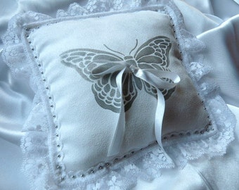 Elegant Ring Bearer Pillow with Silver Hand Painted Butterfly